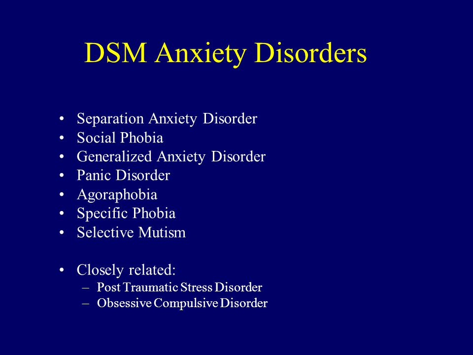DSM Anxiety Disorders Separation Anxiety Disorder Social Phobia