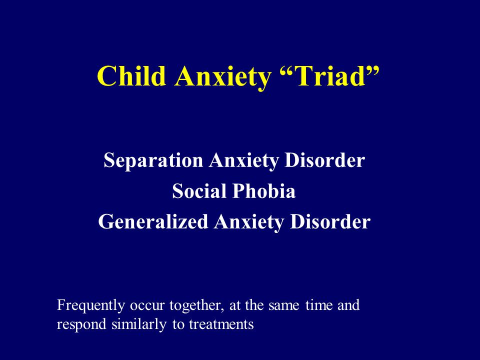 Separation Anxiety Disorder Social Phobia Generalized Anxiety Disorder