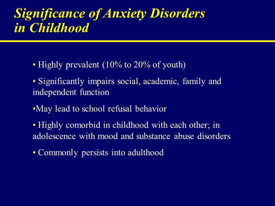 Significance of Anxiety Disorders in Childhood