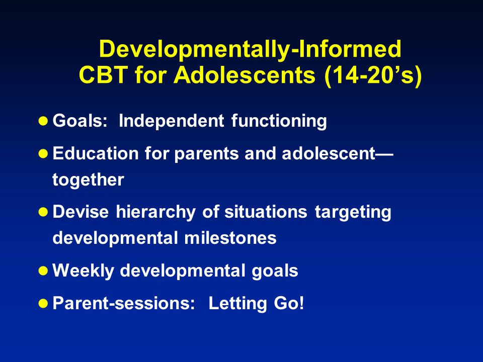 Developmentally-Informed CBT for Adolescents (14-20's)