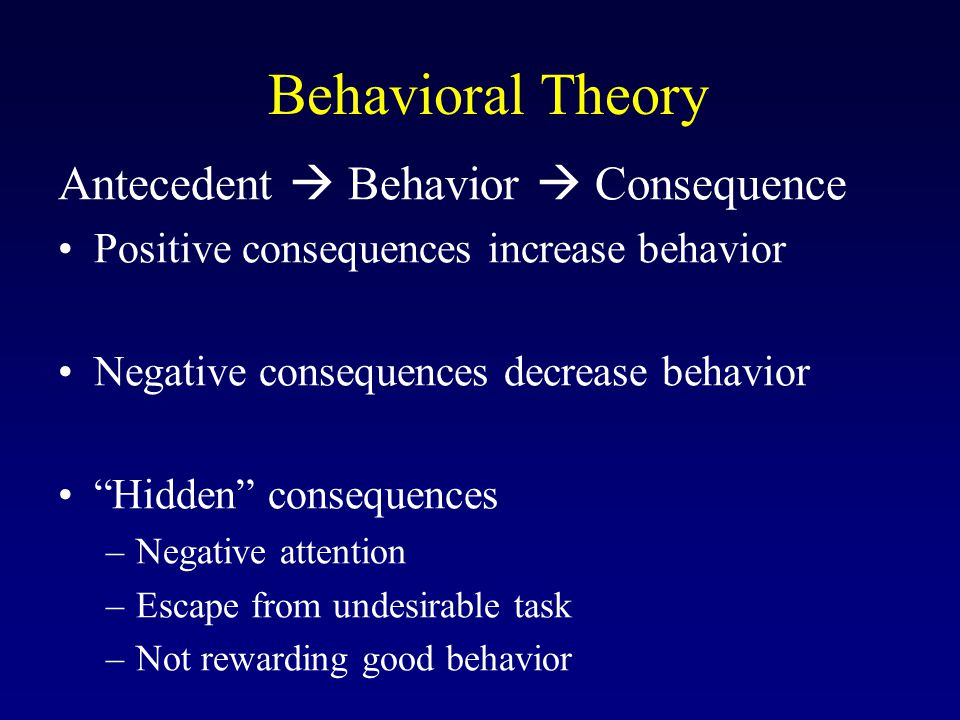 Behavioral Theory Antecedent  Behavior  Consequence