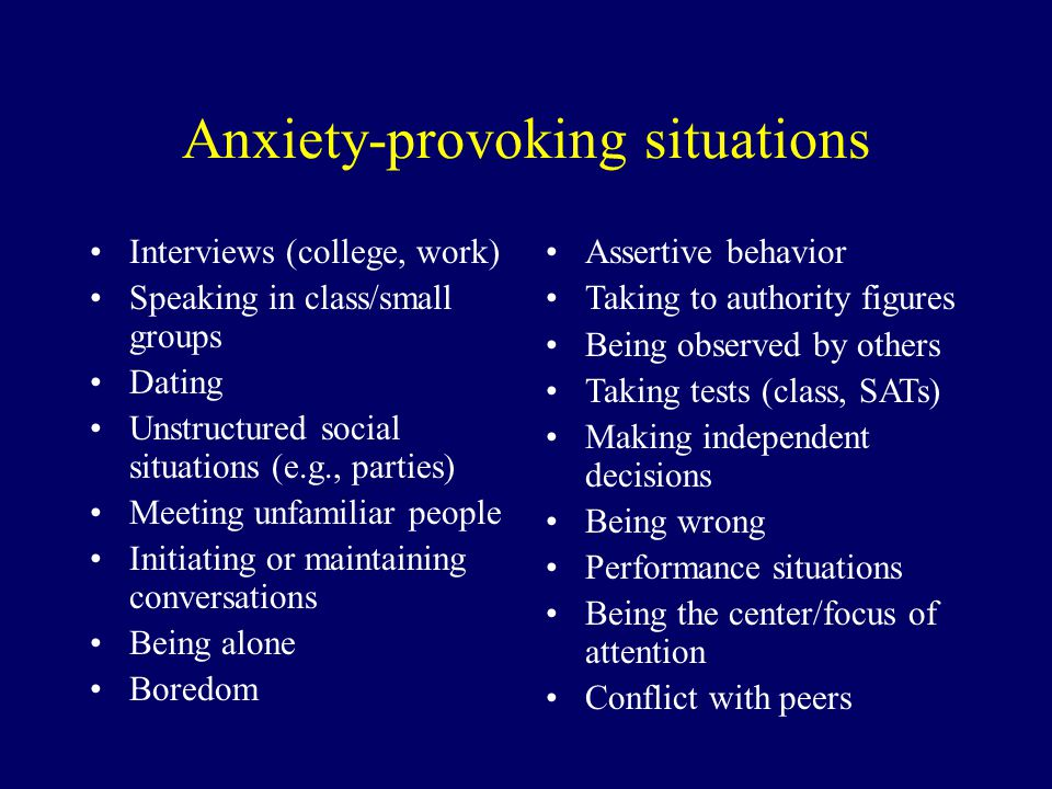 Anxiety-provoking situations