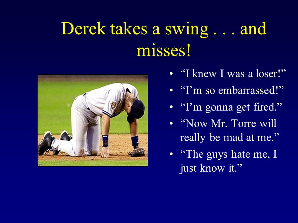 Derek takes a swing . . . and misses!