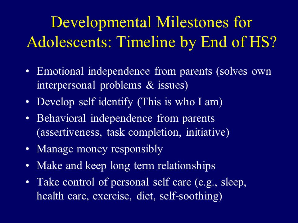 Developmental Milestones for Adolescents: Timeline by End of HS