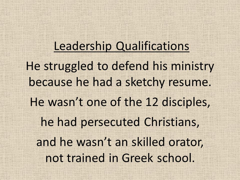 Leadership Qualifications