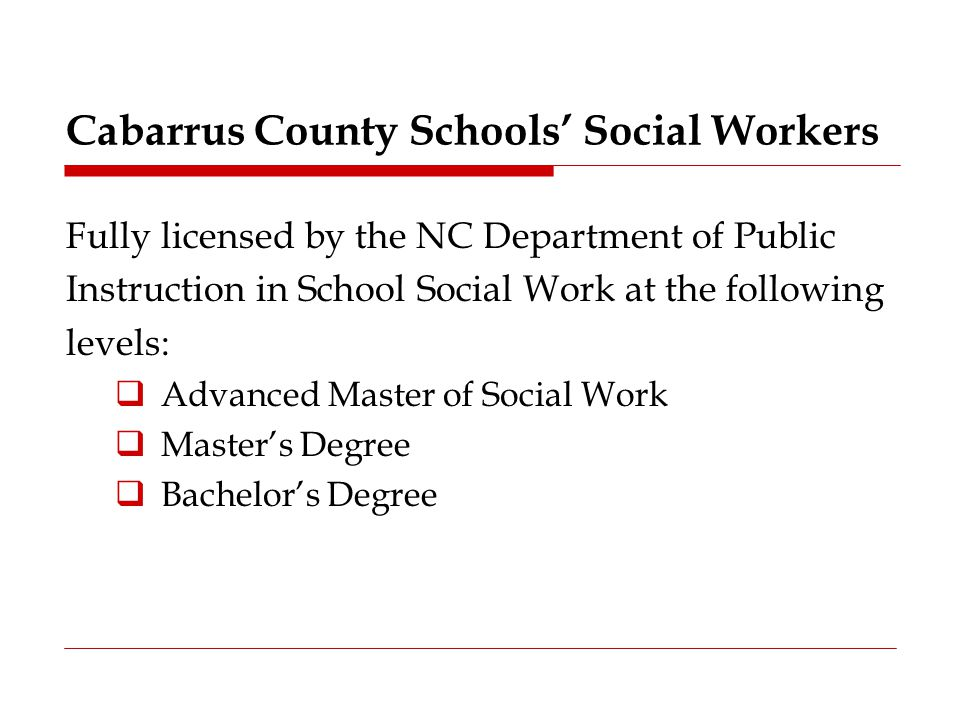 Cabarrus County Schools' Social Workers