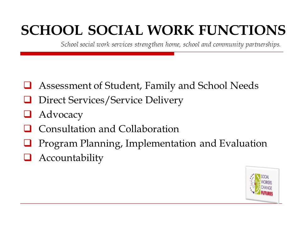 SCHOOL SOCIAL WORK FUNCTIONS School social work services strengthen home, school and community partnerships.
