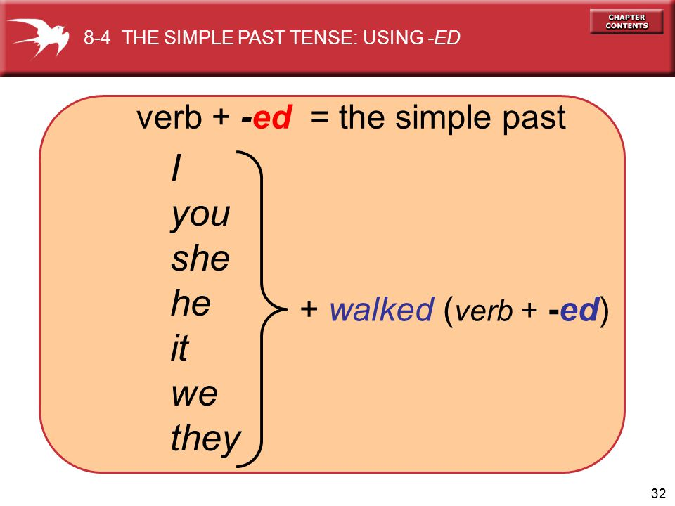 I you she he it we they verb + -ed = the simple past