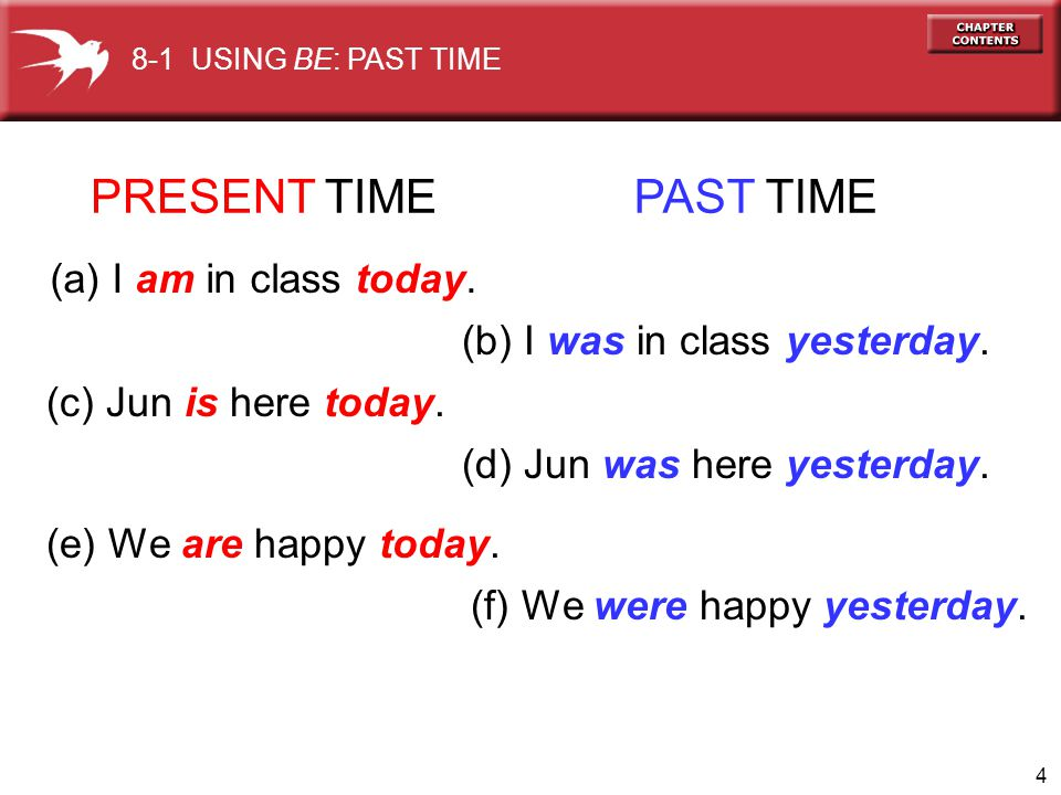PRESENT TIME PAST TIME (a) I am in class today.