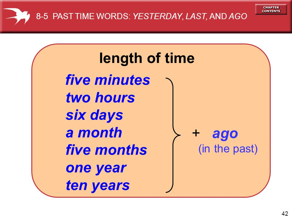 length of time two hours six days a month five months one year