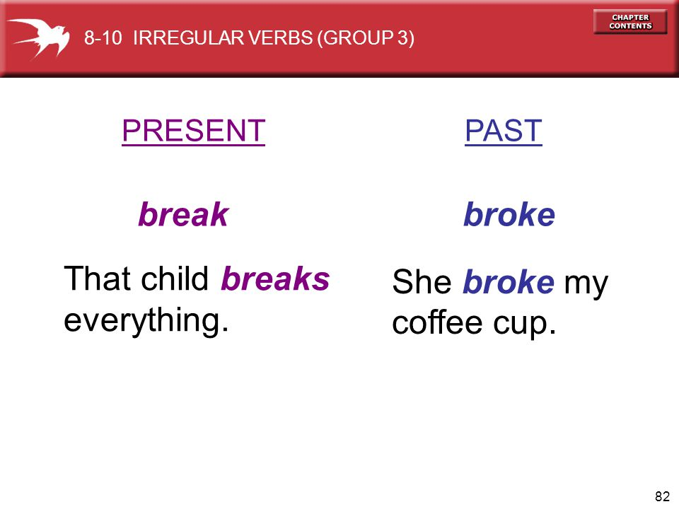 break broke That child breaks She broke my everything. coffee cup.