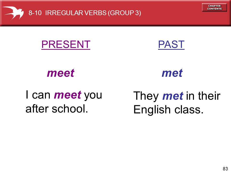 meet met I can meet you They met in their after school. English class.