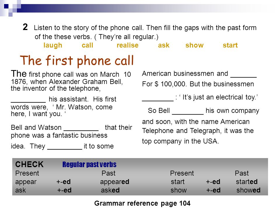 2 Listen to the story of the phone call