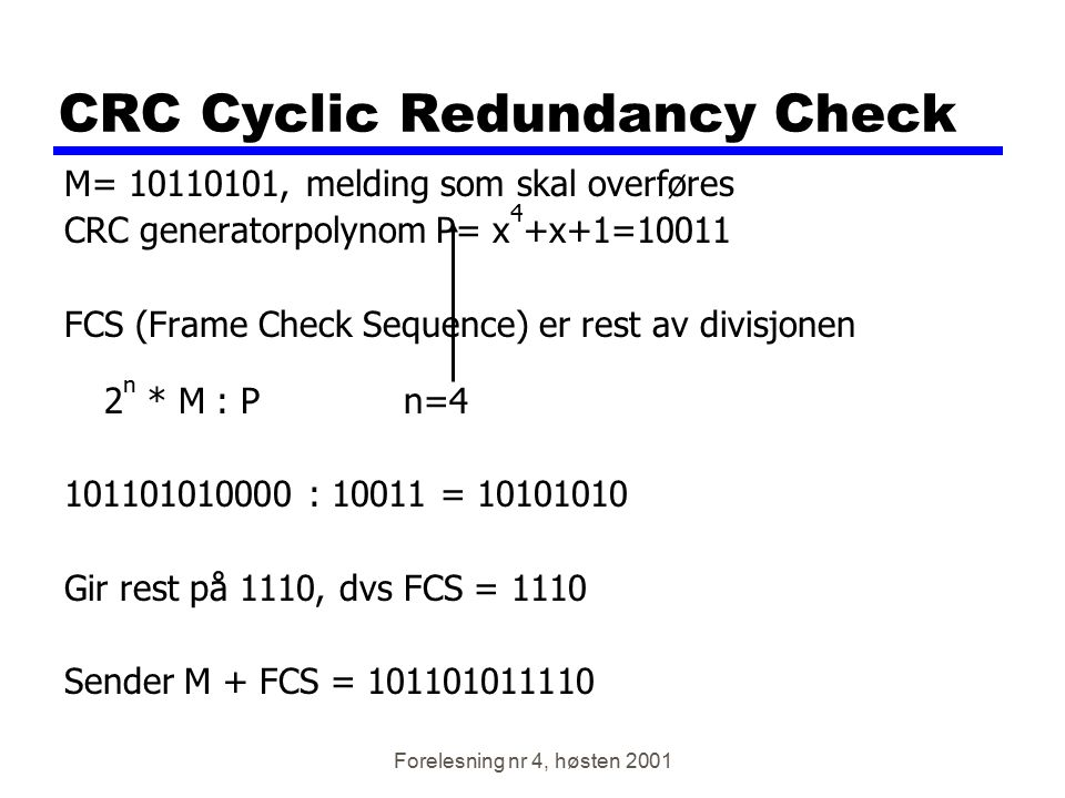 CRC Cyclic Redundancy Check