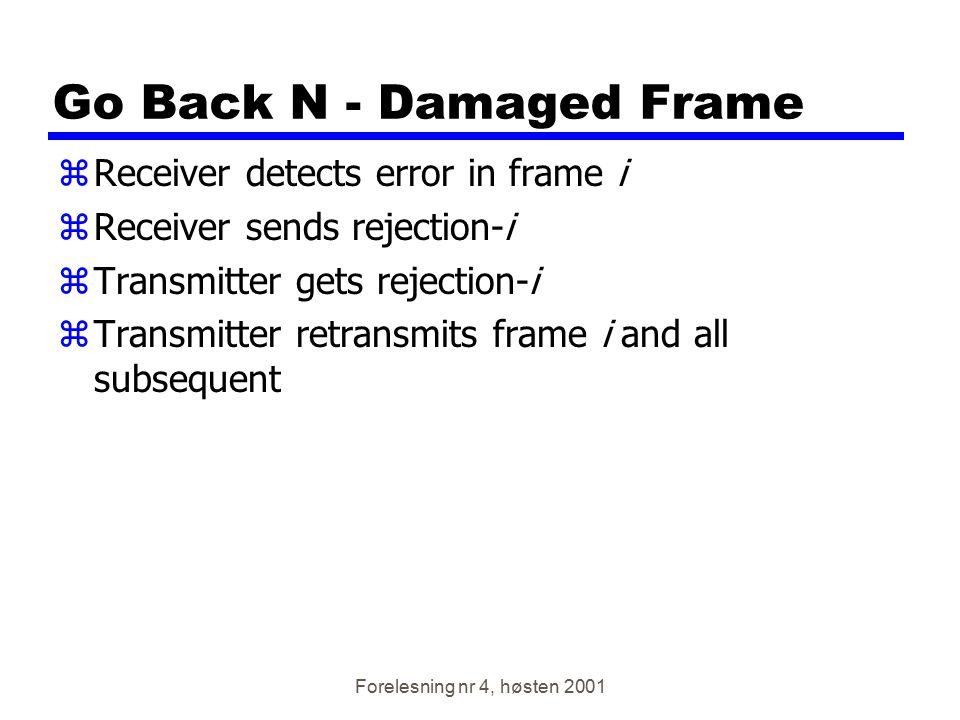 Go Back N - Damaged Frame