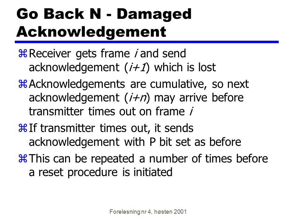 Go Back N - Damaged Acknowledgement
