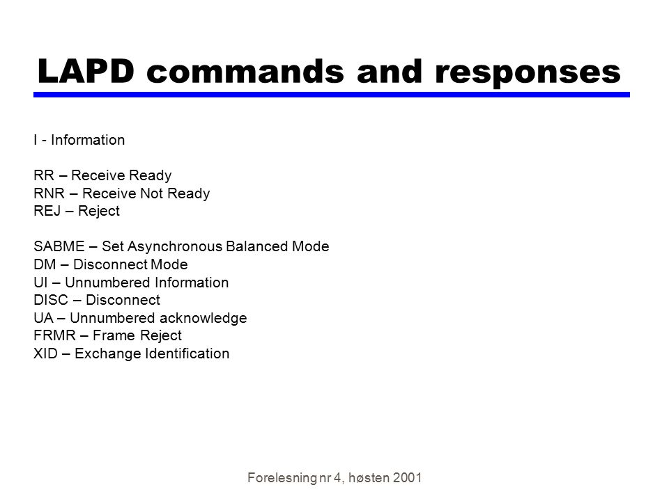 LAPD commands and responses