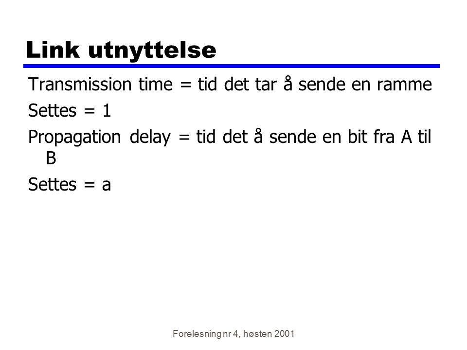 Link utnyttelse Transmission time = tid det tar å sende en ramme