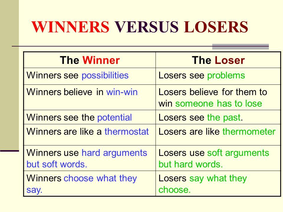 WINNERS VERSUS LOSERS The Winner The Loser Winners see possibilities