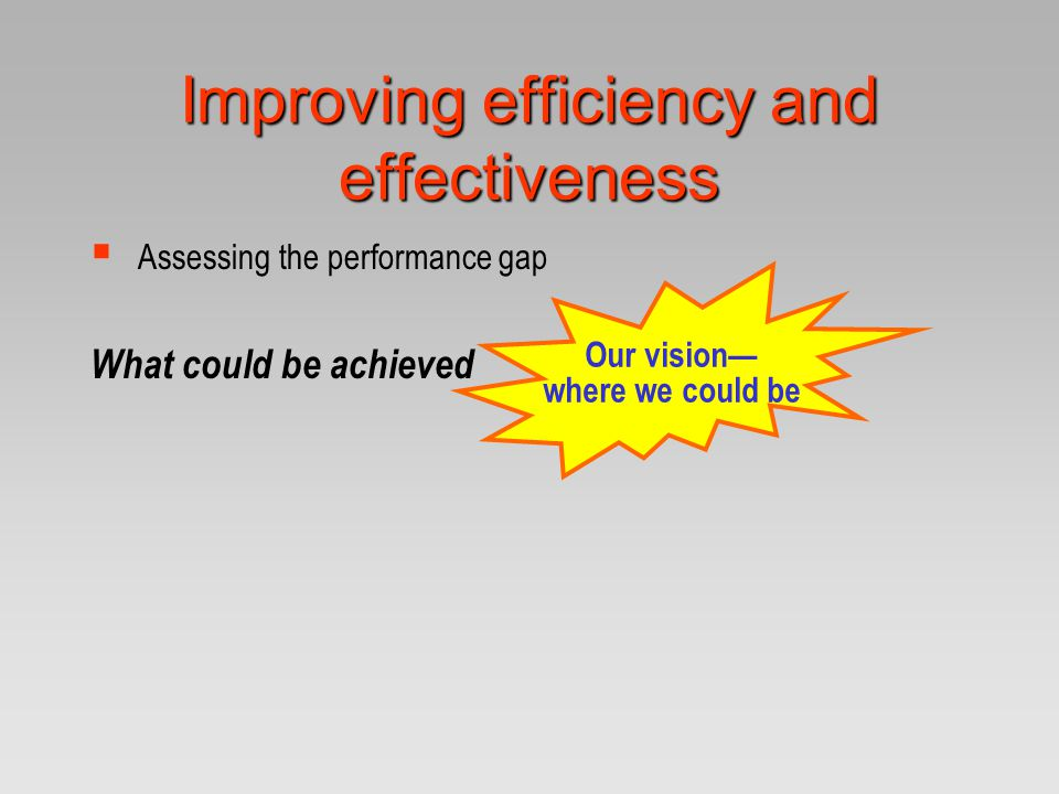 Improving efficiency and effectiveness