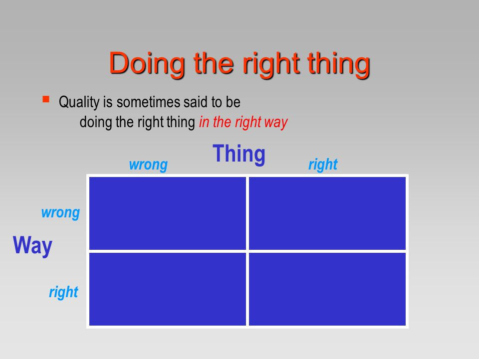 Doing the right thing Thing Way Quality is sometimes said to be