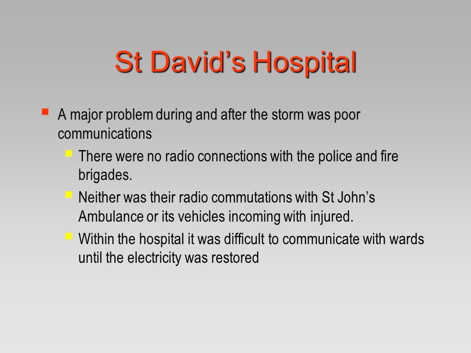 St David's Hospital A major problem during and after the storm was poor communications.