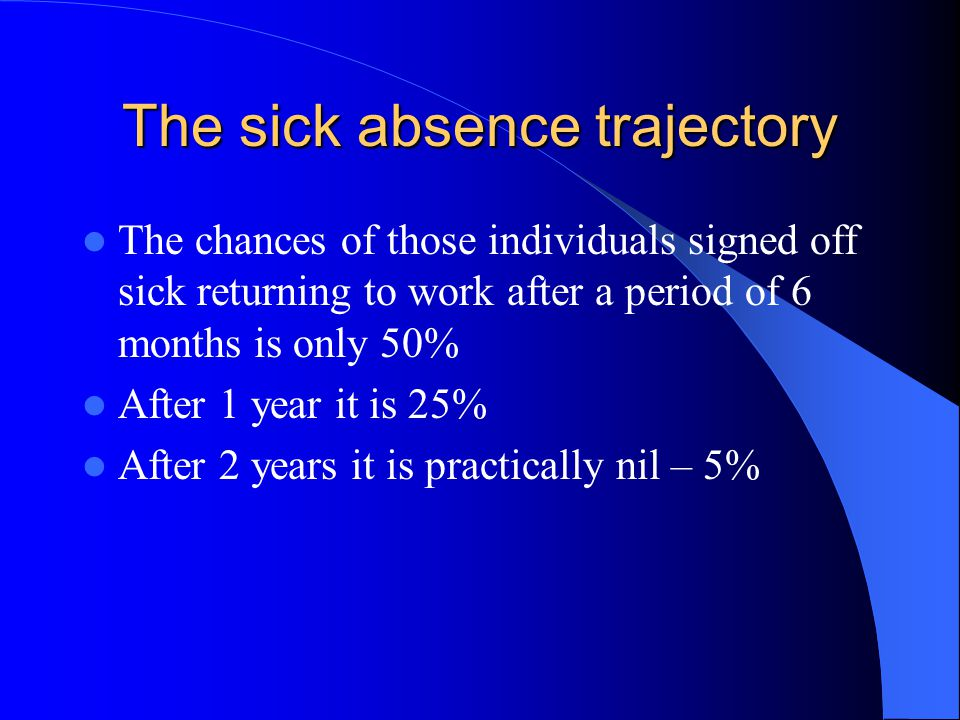 The sick absence trajectory