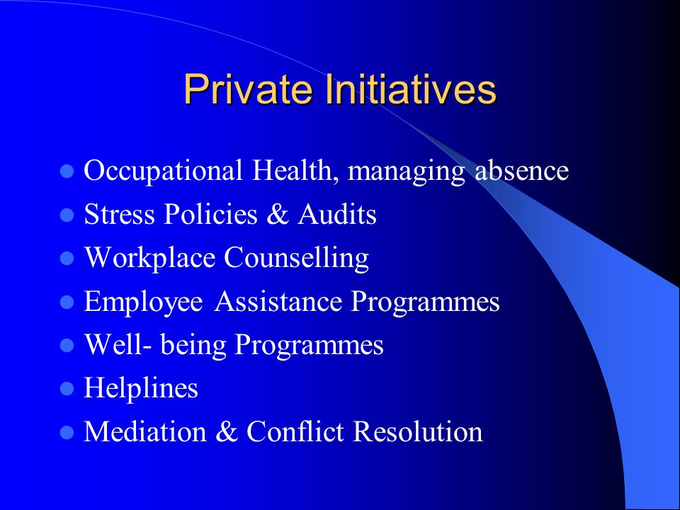 Private Initiatives Occupational Health, managing absence