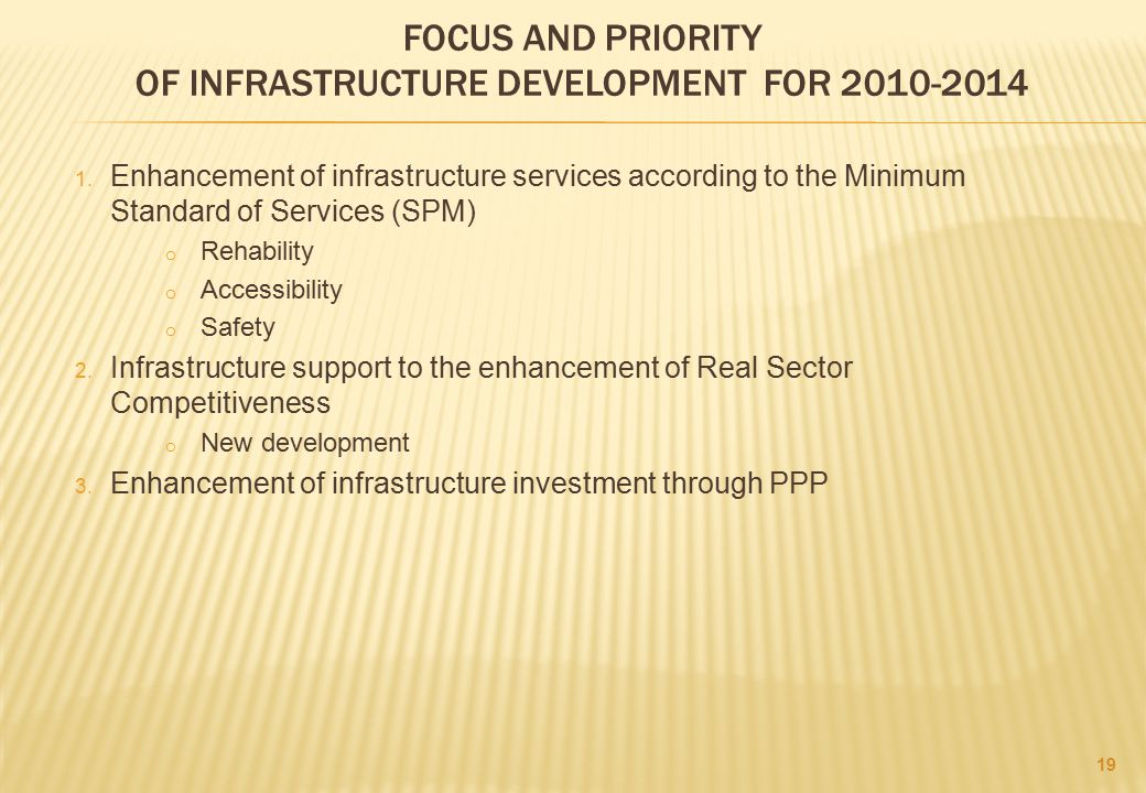 FOCUS AND PRIORITY OF INFRASTRUCTURE DEVELOPMENT FOR 2010-2014