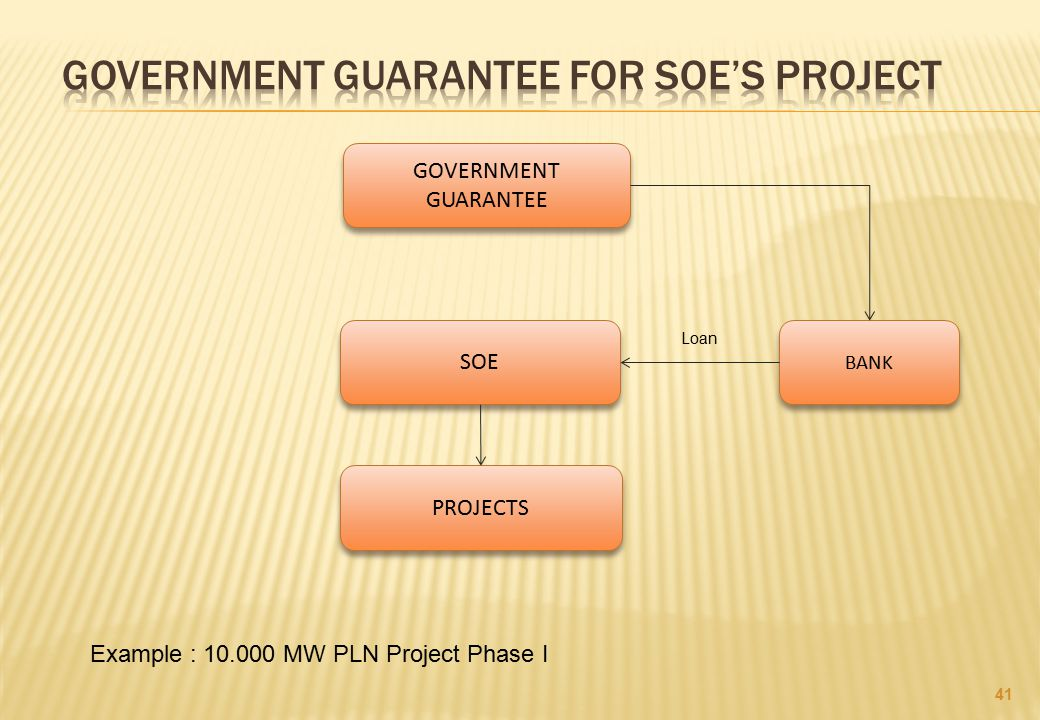 GOVERNMENT GUARANTEE FOR SOE'S PROJECT