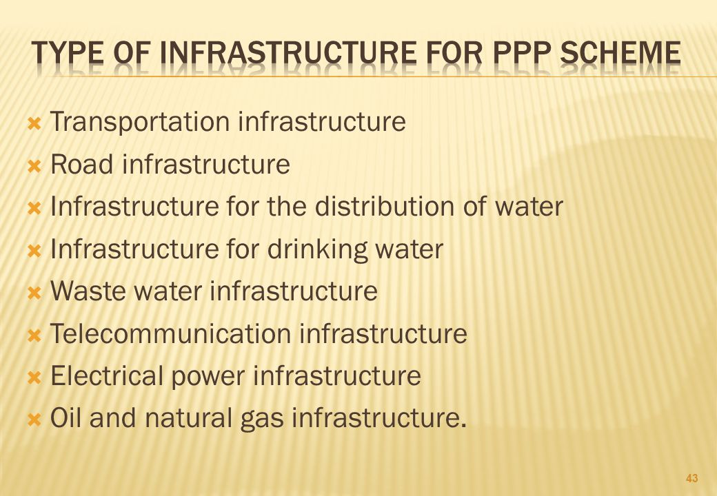 TYPE OF INFRASTRUCTURE FOR PPP SCHEME