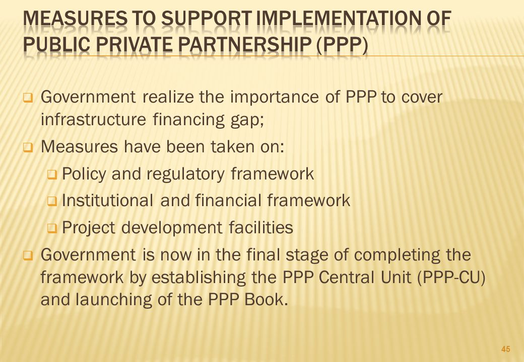 measures to support implementation of public private partnership (PPP)