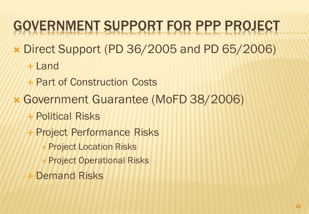 GOVERNMENT SUPPORT FOR PPP PROJECT