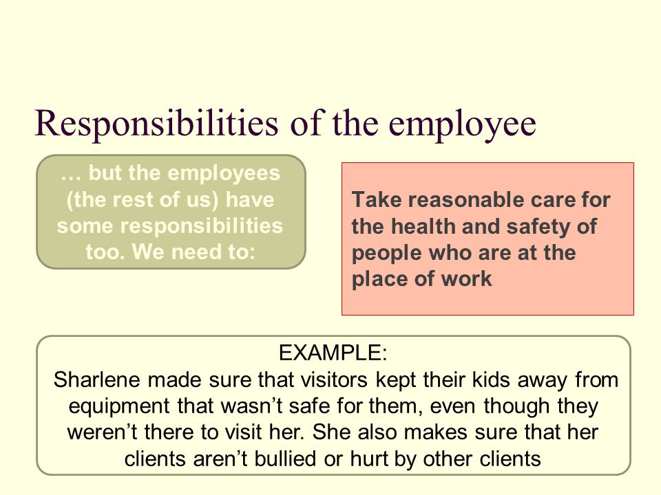 Responsibilities of the employee