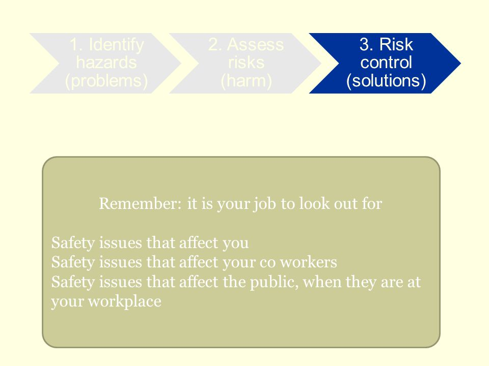 Remember: it is your job to look out for Safety issues that affect you