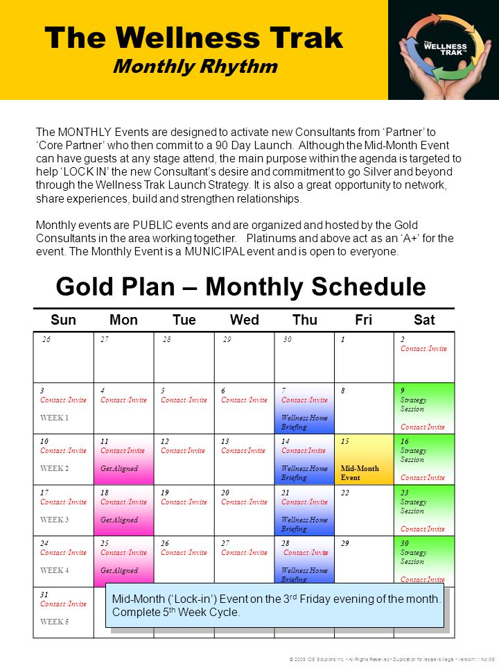Gold Plan – Monthly Schedule