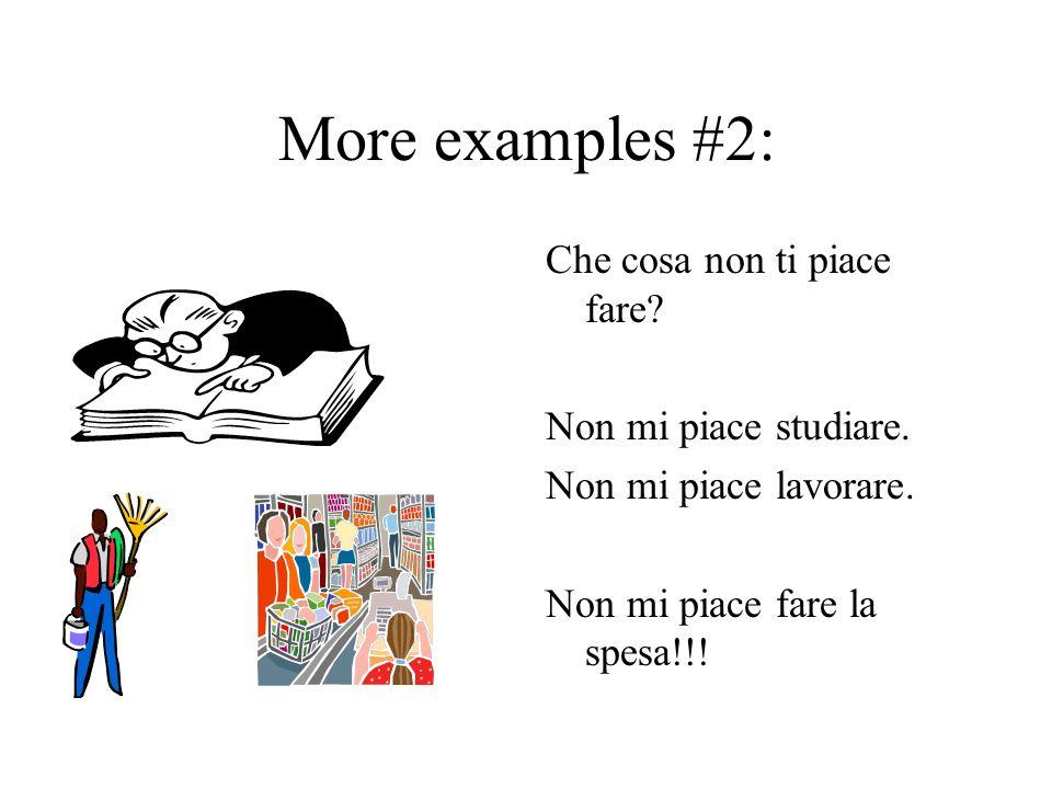 More examples #2: Che cosa non ti piace fare Non mi piace studiare.