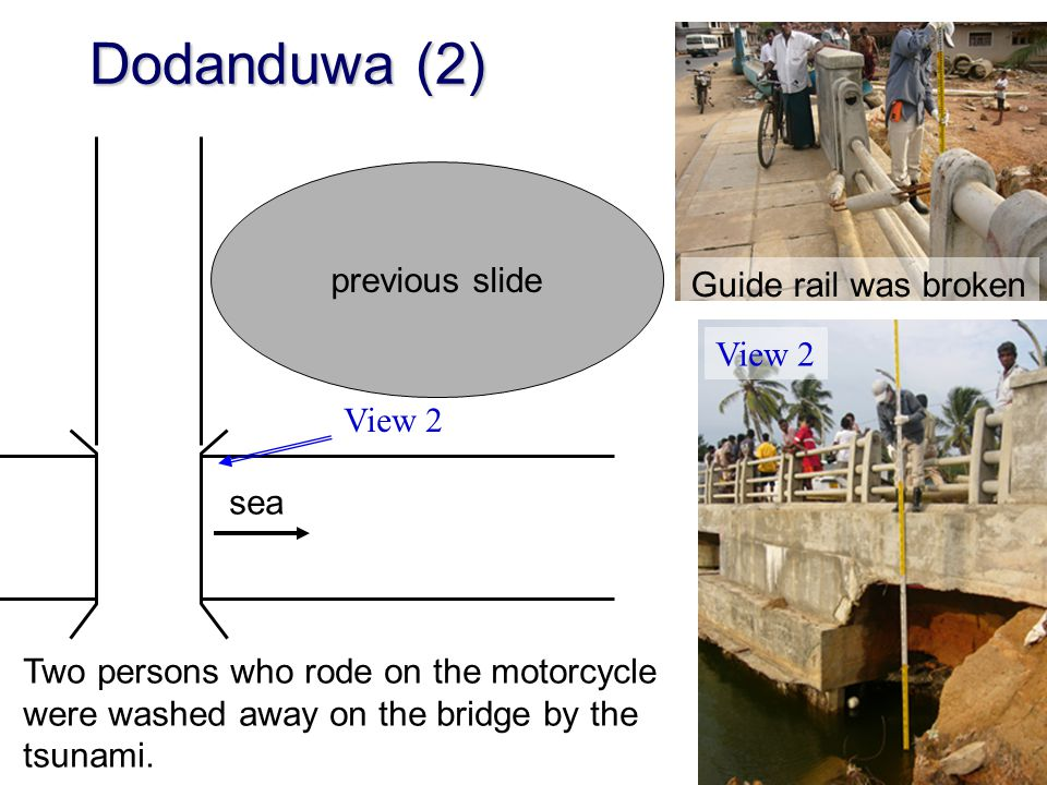 Dodanduwa (2) previous slide Guide rail was broken View 2 View 2 sea