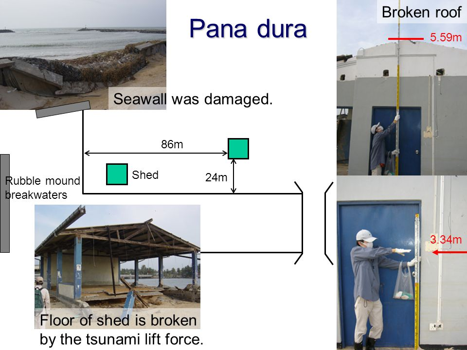 Pana dura Broken roof Seawall was damaged.