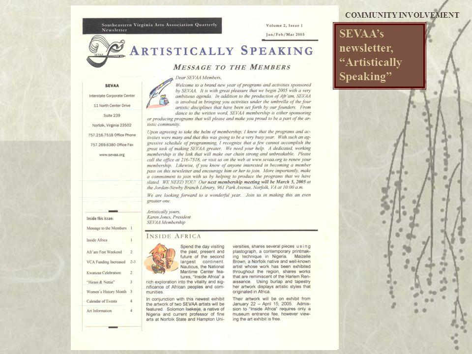 SEVAA's newsletter, Artistically Speaking