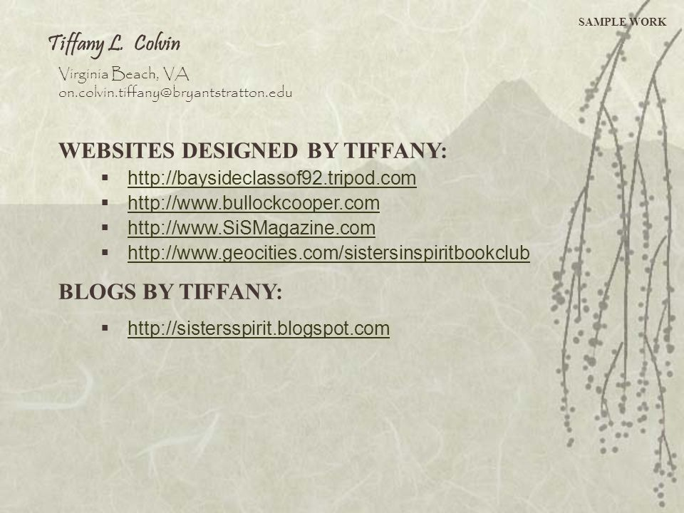 WEBSITES DESIGNED BY TIFFANY: