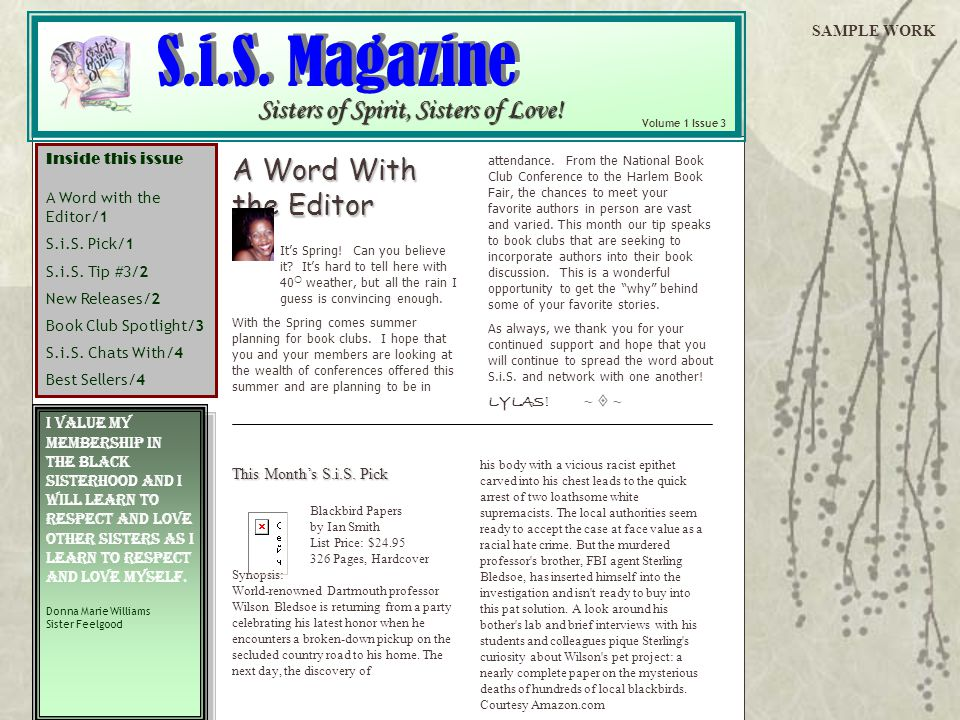S.i.S. Magazine A Word With the Editor