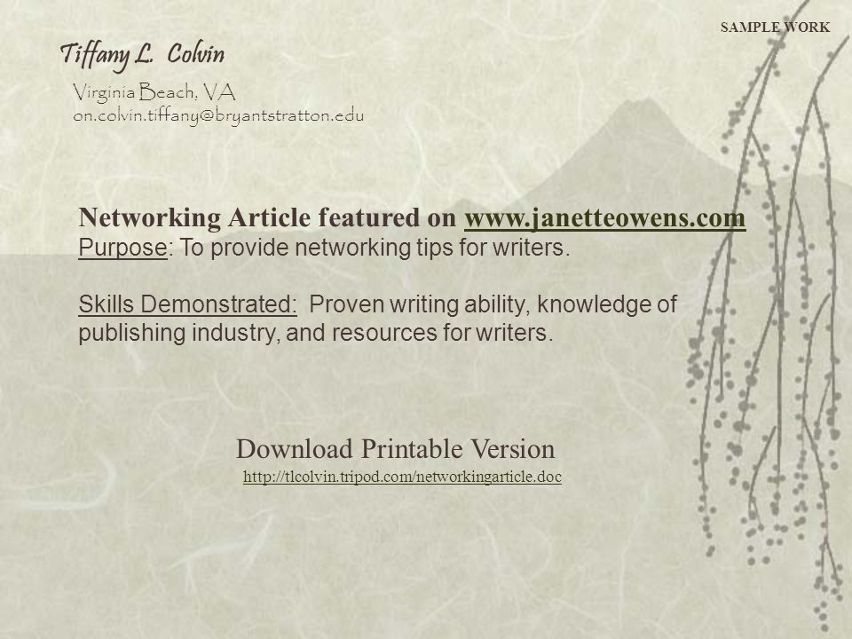Networking Article featured on www.janetteowens.com
