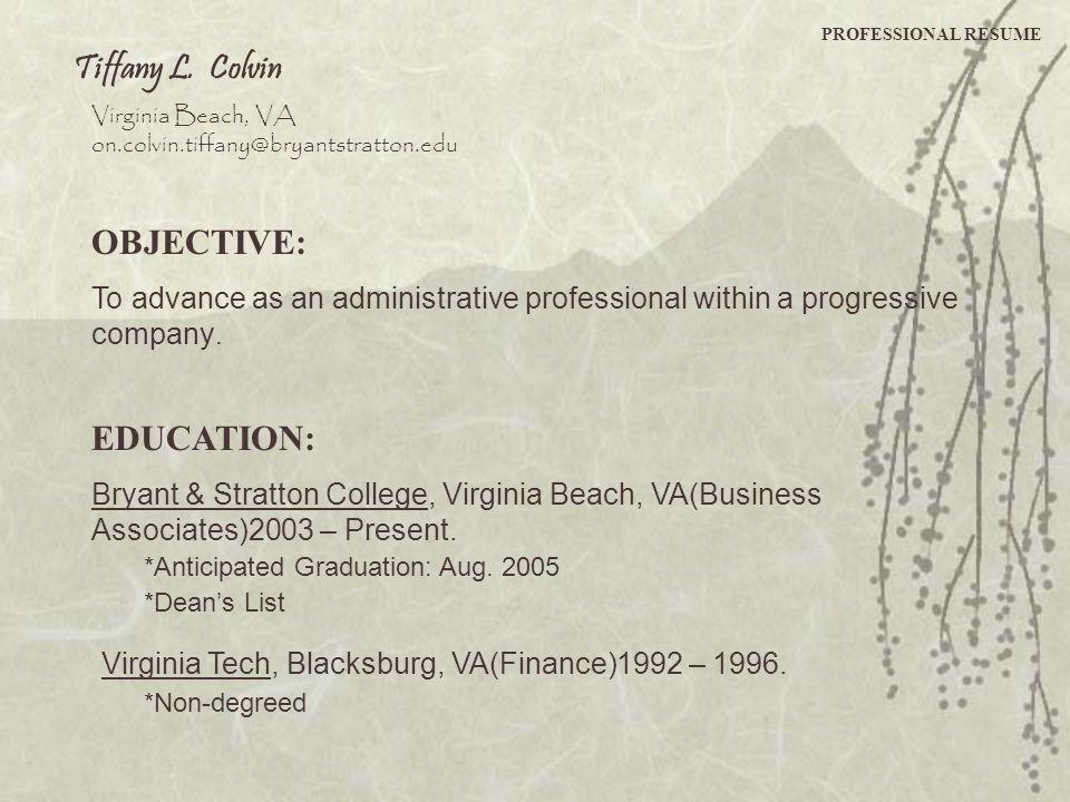 Virginia Tech, Blacksburg, VA(Finance)1992 – 1996.
