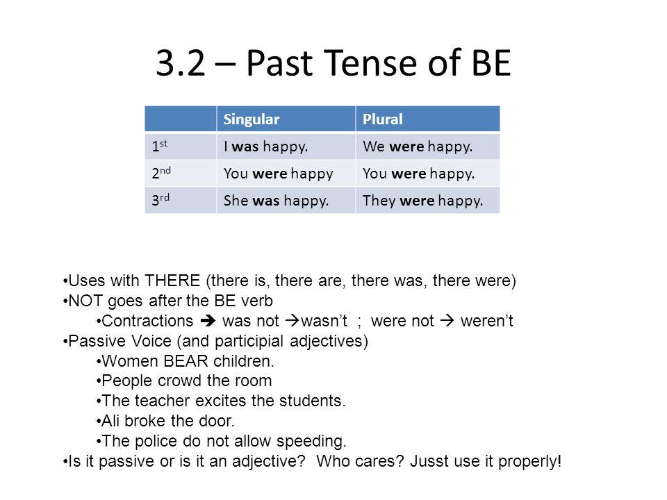 3.2 – Past Tense of BE Singular Plural 1st I was happy. We were happy.