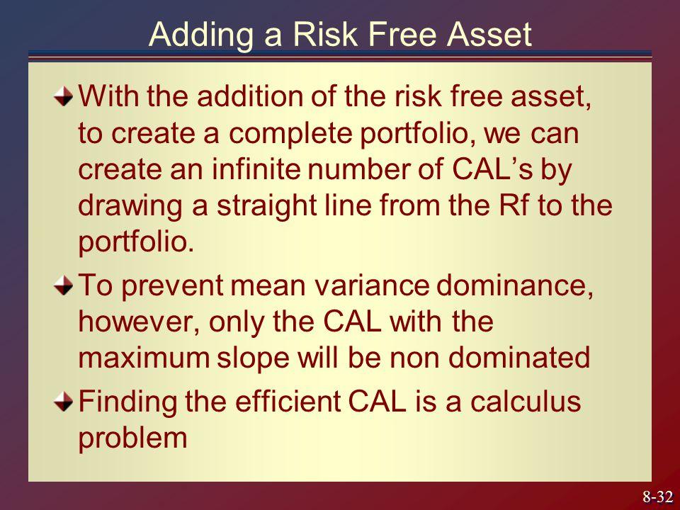 Adding a Risk Free Asset