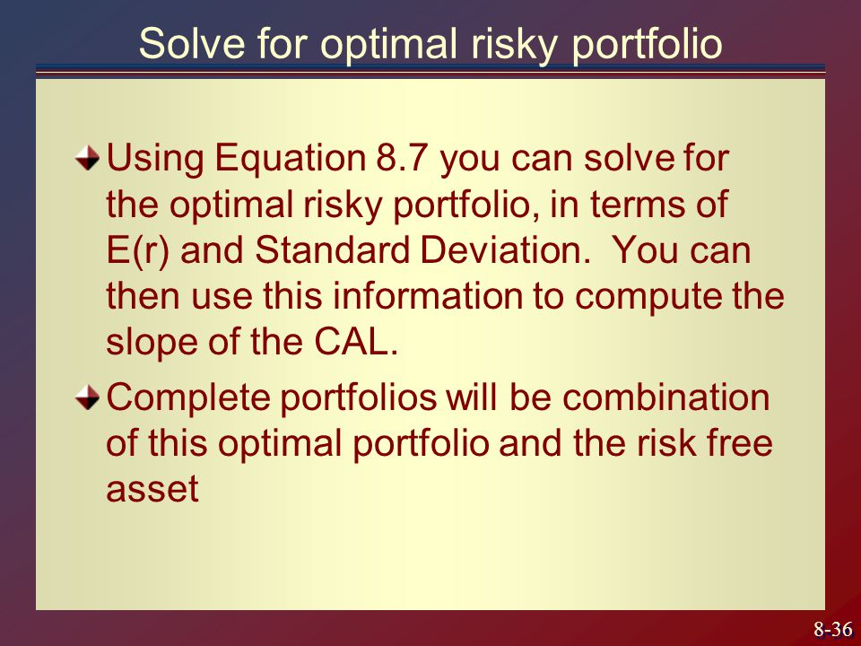 Solve for optimal risky portfolio