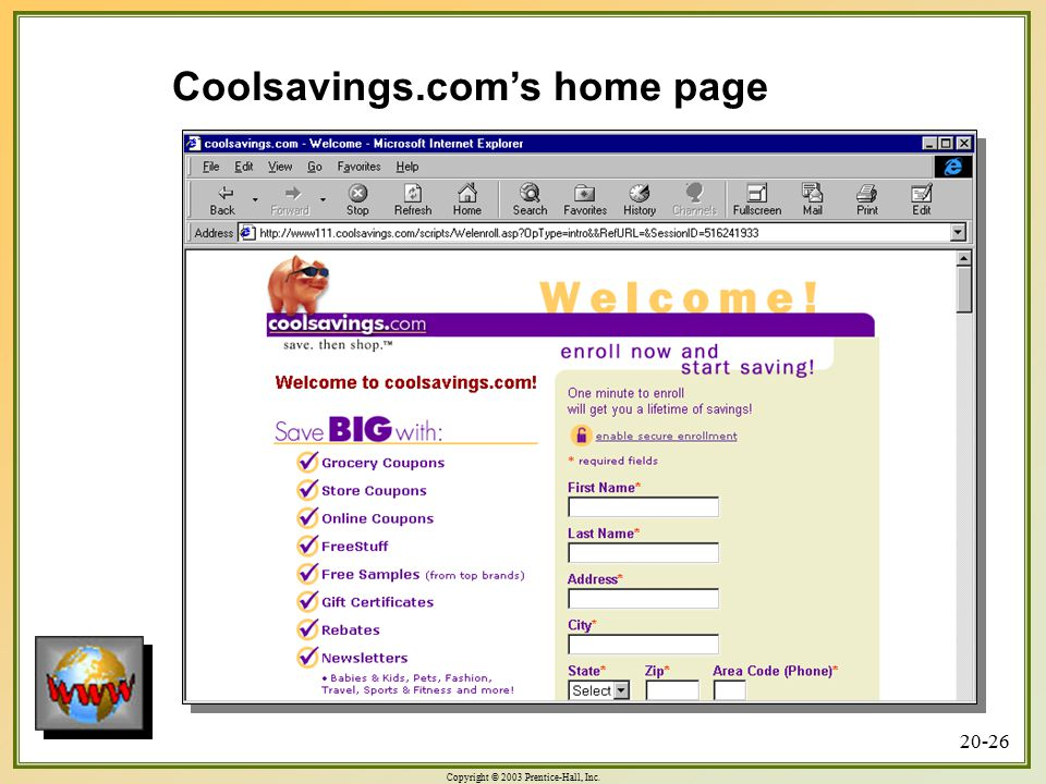 Coolsavings.com's home page