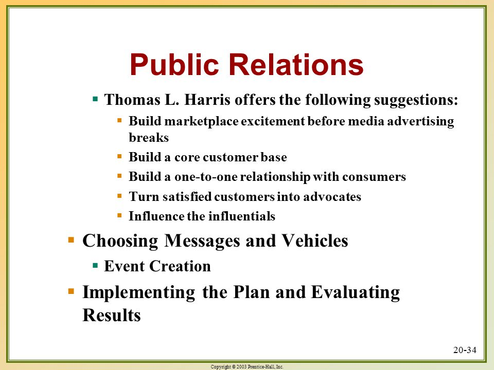 Public Relations Choosing Messages and Vehicles