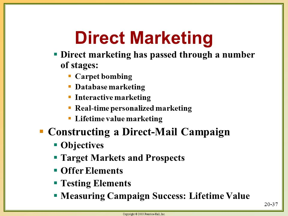 Direct Marketing Constructing a Direct-Mail Campaign